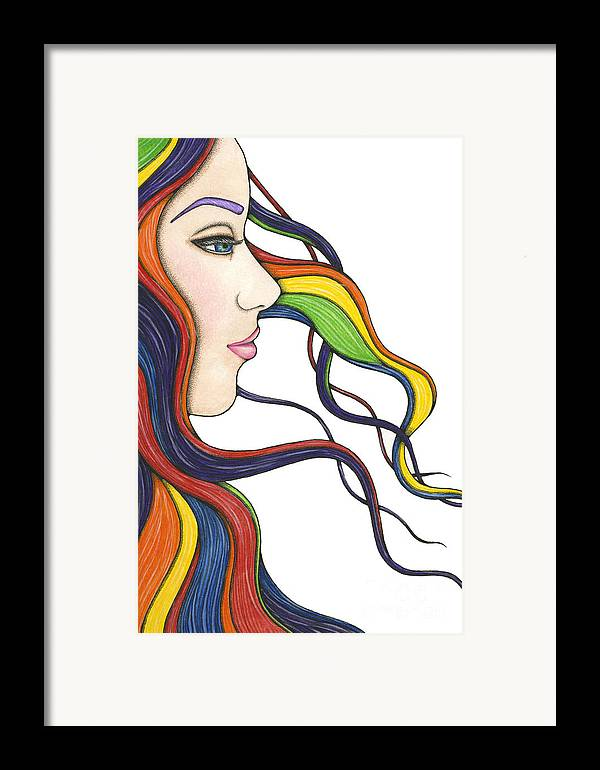 Portrait Framed Print featuring the painting I Am My Own Rainbow by Nora Blansett