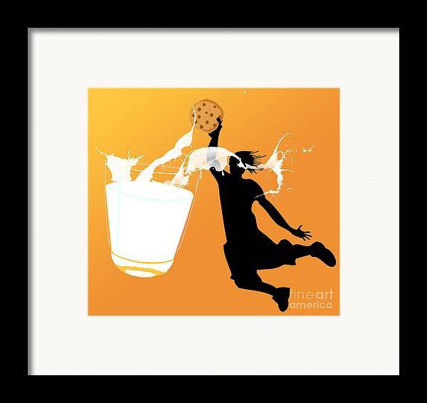 Digita Art Framed Print featuring the digital art I Can Dunk by Laura Brightwood