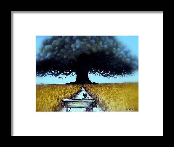 I Looked At The Tree Framed Print featuring the digital art I Looked At The Abandoned Tree And I Not Saw Nests Neither Birds by Paulo Zerbato