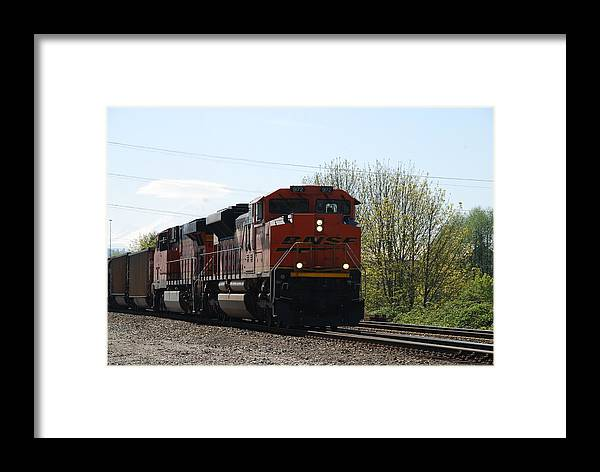 Bnsf Framed Print featuring the photograph I See The Train A Comin' by Michael Merry