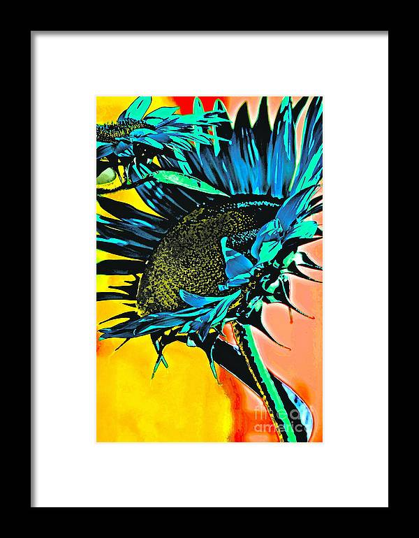 Sunflower Framed Print featuring the photograph I Will Be Bigger Than You by Gwyn Newcombe