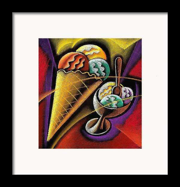 Coloured Cone Cones Dairy Products Dessert Food Graphic Ice Ice Cream Ice Creams Icecream Icecreams Illustration Illustrations Milk Products Mouth Watering One Picture Pictures Pink Snack Strawberry Sweet Temptation Vertical White Background Decorative Art Absttract Painting Framed Print featuring the pastel Icecream by Leon Zernitsky