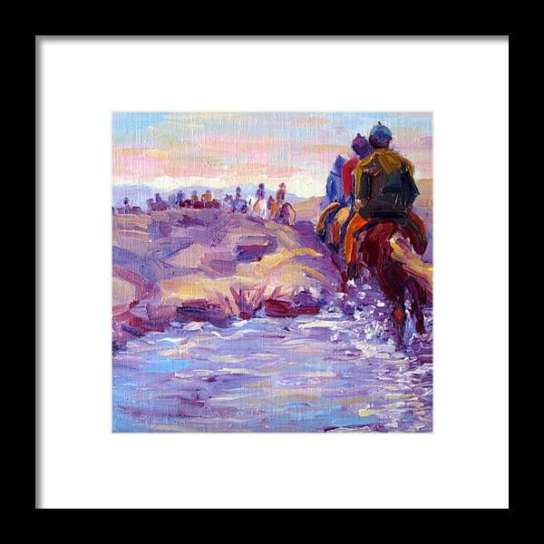 Iceland Framed Print featuring the painting Icelandic Horse Trail Ride by Terry Chacon