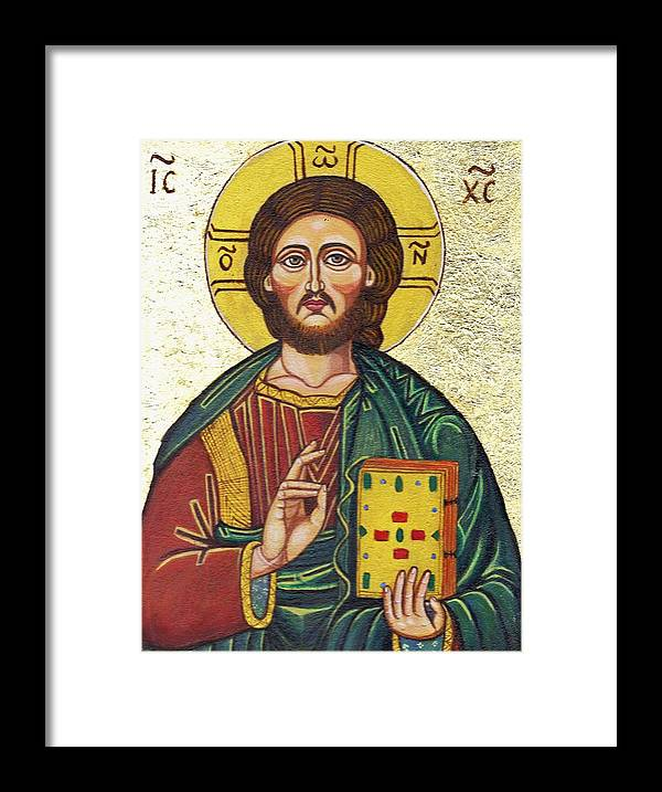 Religion Framed Print featuring the painting Icon of Jesus As Christ Pantocrator by ITI Ion Vincent Danu