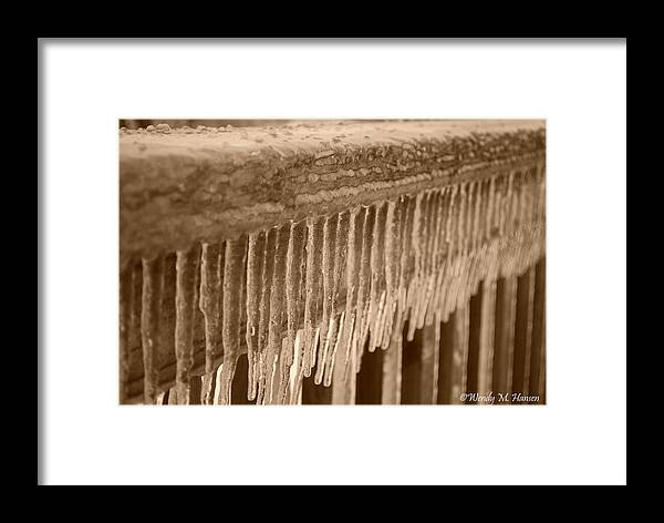 Ice Framed Print featuring the photograph Icy Rail by Wendy Hansen-Penman
