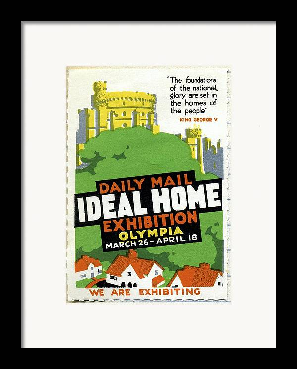 Ideal Home Exhibition Framed Print featuring the photograph Ideal Home Exhibition Stamp, 1920 by Cci Archives