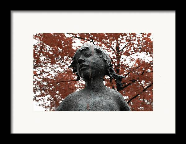 Girl Child Statue Black White Dual Chrome Tree Trees Expressionism Impressionism Tear Tears Cry Park Look Portrait Bronze Red Beech Beeches Framed Print featuring the photograph If Trees Could Cry by Steve K