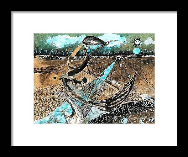 Andscapes Framed Print featuring the painting Imaginary Landscape by ITI Ion Vincent Danu
