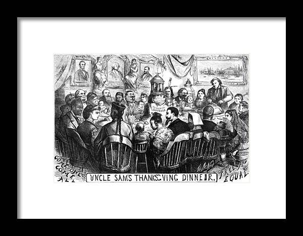 1869 Framed Print featuring the photograph Immigration Cartoon, 1869 by Granger