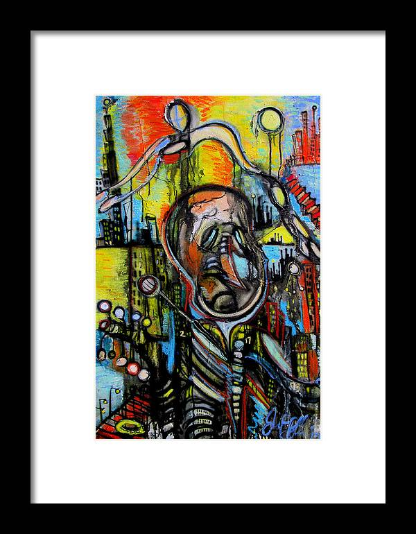 India Ink Framed Print featuring the painting Impaired Judgement by Jon Baldwin Art
