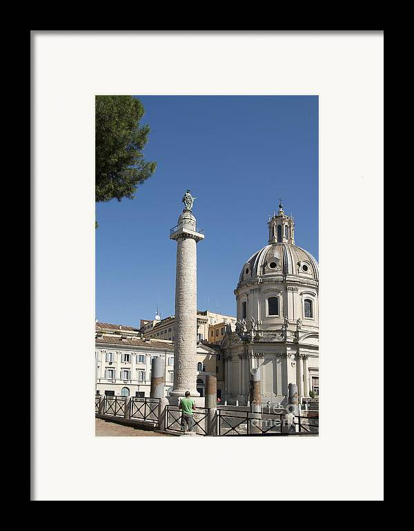 Worth Framed Print featuring the photograph Imperial Fora With The Trajan's Column And The Church Santissimo Nome Di Maria. Rome by Bernard Jaubert