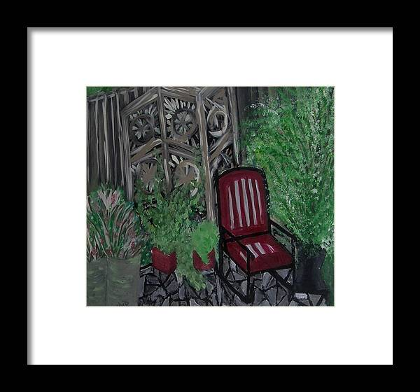 Old Fashioned Framed Print featuring the painting In A Corner Of The Yard by Marie Bulger
