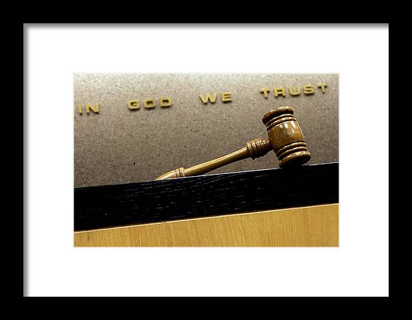 Gavel Framed Print featuring the photograph In God We Trust by Edward Betz