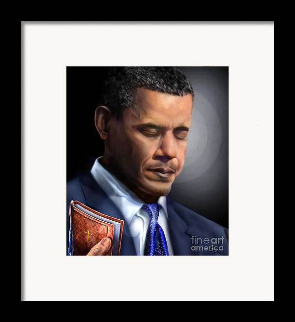 President Of The Usa Framed Print featuring the painting In Jesus Christ Name by Reggie Duffie