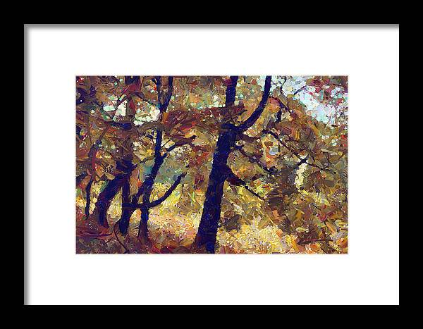 Autumn Framed Print featuring the digital art In Park by Boguslaw Florjan