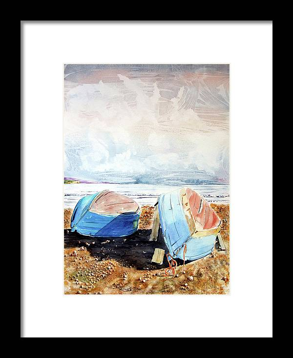 Watercolor Framed Print featuring the painting In Secca Sulla Spiaggia by Giovanni Marco Sassu