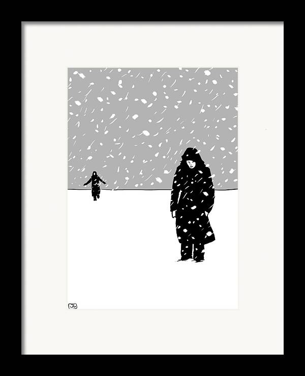 Snow Storm Framed Print featuring the drawing In The Snow by Giuseppe Cristiano