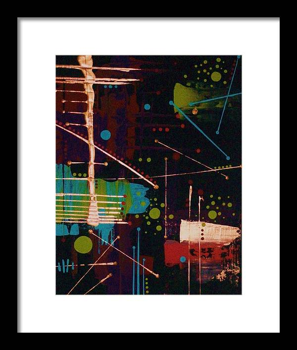Abstract-expressionism Framed Print featuring the painting In The Still Of The Night by Charlotte Nunn