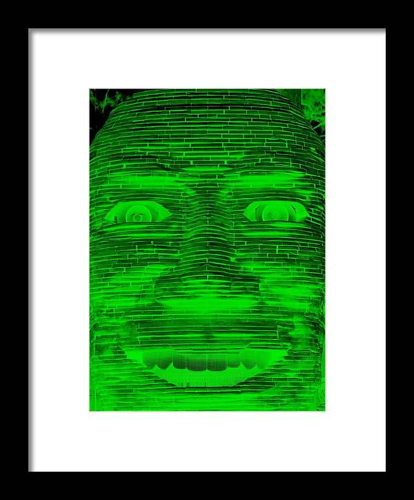 Architecture Framed Print featuring the photograph In Your Face In Negative Green by Rob Hans