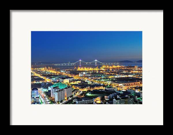 Horizontal Framed Print featuring the photograph Incheon City by Tokism