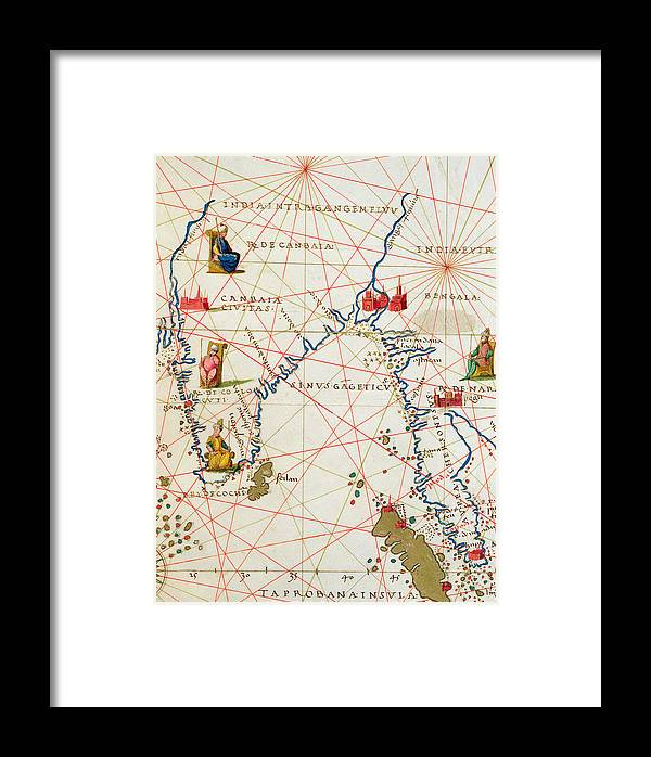Maps Framed Print featuring the drawing India And Malaysia by Battista Agnese