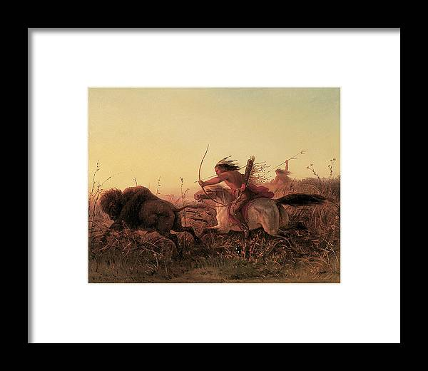 Charles Wimar Framed Print featuring the painting Indian Buffalo Hunt by Charles Wimar