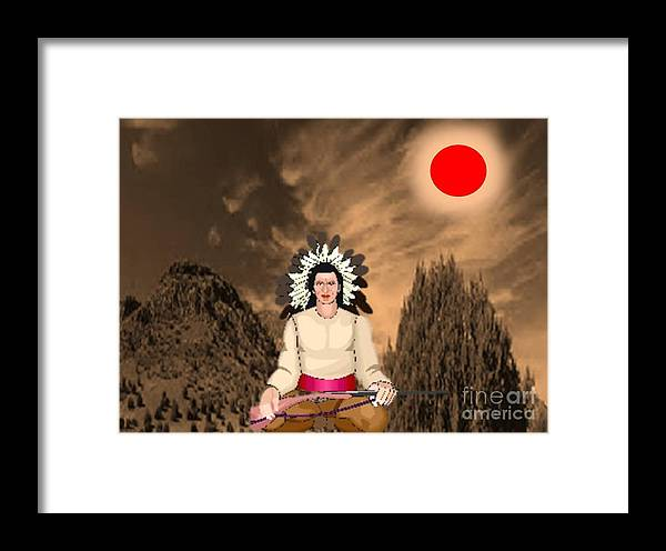 Landscape Framed Print featuring the painting Sitting Bull by Belinda Threeths