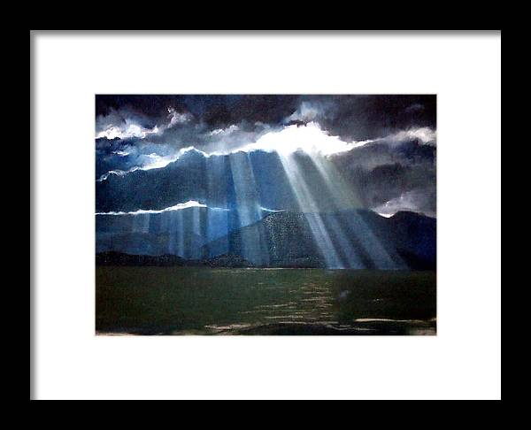 Landscape Framed Print featuring the painting Indigo by Maureen Rocksmoore