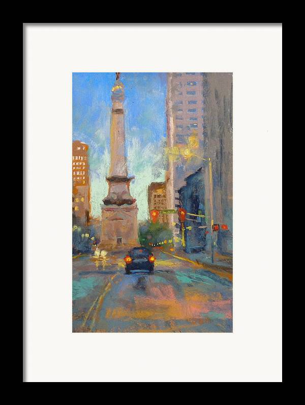 City Scape Framed Print featuring the painting Indy Monument At Twilight by Donna Shortt