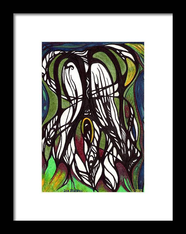 Dream Cards Framed Print featuring the drawing Inside The Wings by Lisa Maxwell