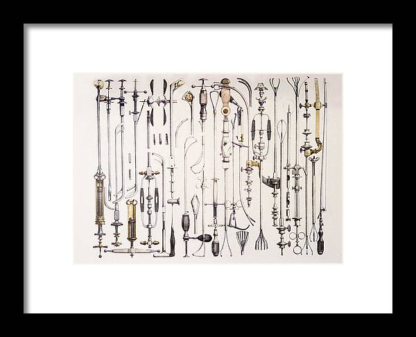 Forceps Framed Print featuring the photograph Instruments For Removing Bladder Stones by Mehau Kulyk
