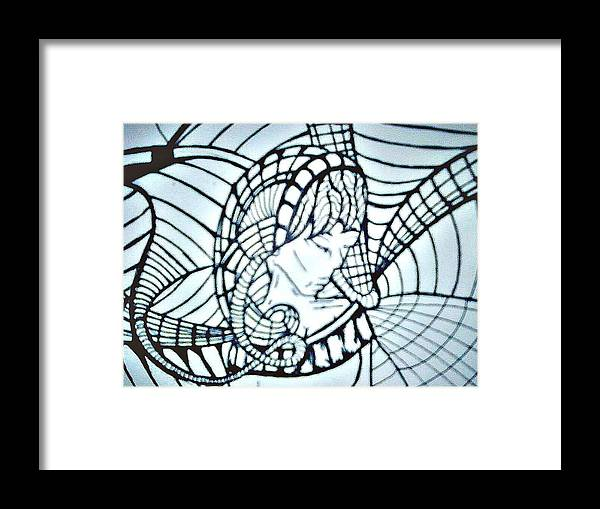 Woman Framed Print featuring the drawing Intertwined by Jennifer Lamb