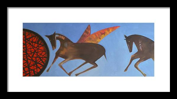Winged Horse Framed Print featuring the painting Into The Blue by Maureen Rocksmoore