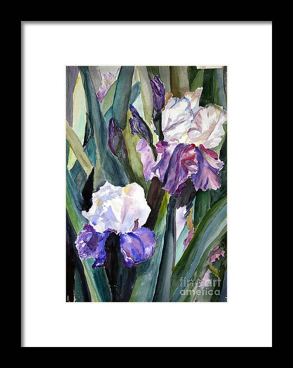 Floral Framed Print featuring the painting Irises by Blooming Originals A Publishing Creation of AngelArts