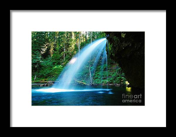 Water. Fall Framed Print featuring the photograph Iron Creek Falls From The Side by Jeff Swan