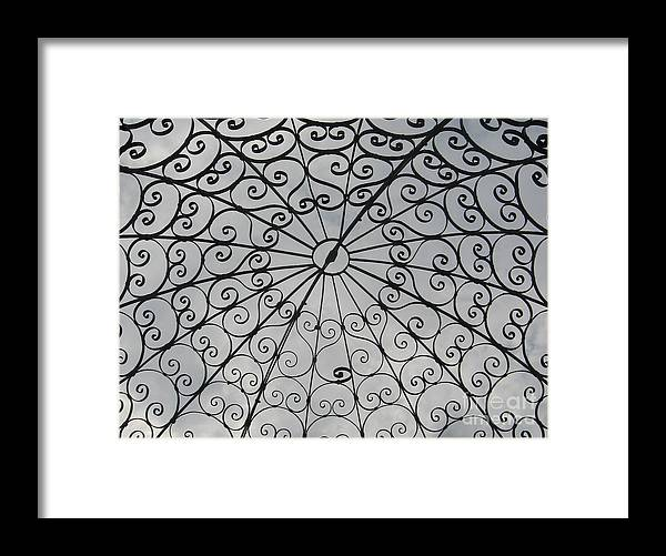 Gray Framed Print featuring the photograph Iron Webbing by Nancy Dole McGuigan