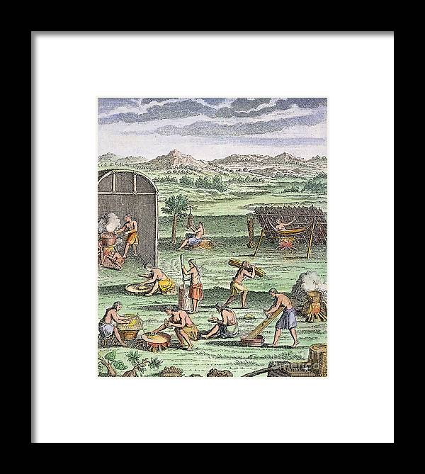 -domestic- Framed Print featuring the photograph Iroquois Village, 1664 by Granger