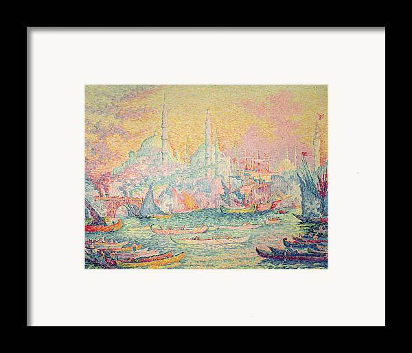 Neo-impressionist; Pointillist; Landscape; Hagia; Byzantine Architecture; Rowing Boat; Minaret; Constantinople Framed Print featuring the painting Istanbul by Paul Signac