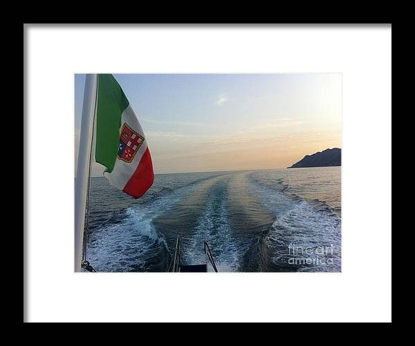 Italy Framed Print featuring the photograph Italian Flag On Boat Off Amalfi by Richard Chapman