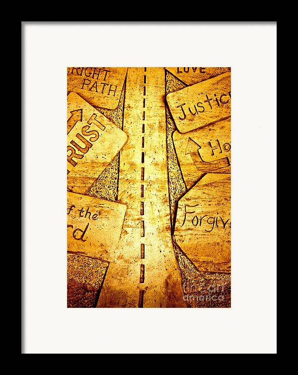 Sand Art Framed Print featuring the pyrography It's A Long Road by Ted Wheaton