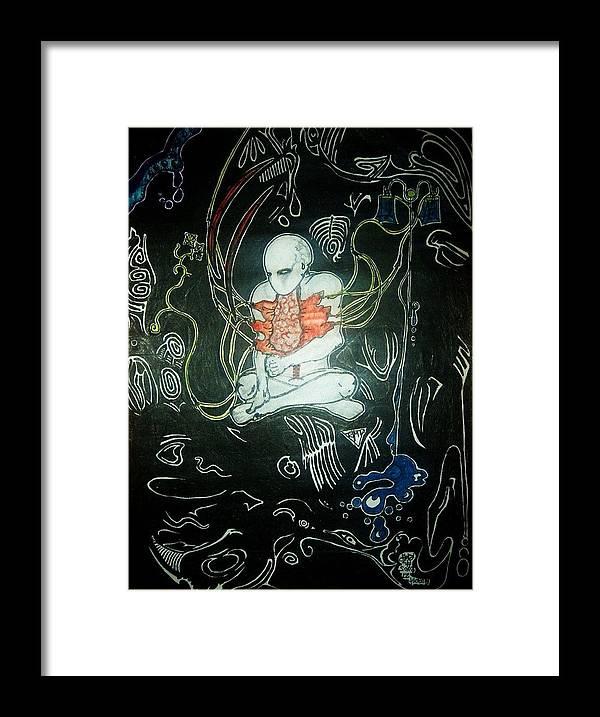Crazy Dark Death Alien Demonoid Zib Washburn Monster Cool Awesome Framed Print featuring the drawing I.v.50 by Ragdoll Washburn