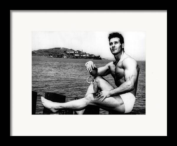 1950s Framed Print featuring the photograph Jack Lalanne Before Handcuffed Swim by Everett