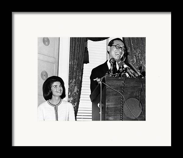 History Framed Print featuring the photograph Jacqueline Kennedy And Architect Ieoh by Everett