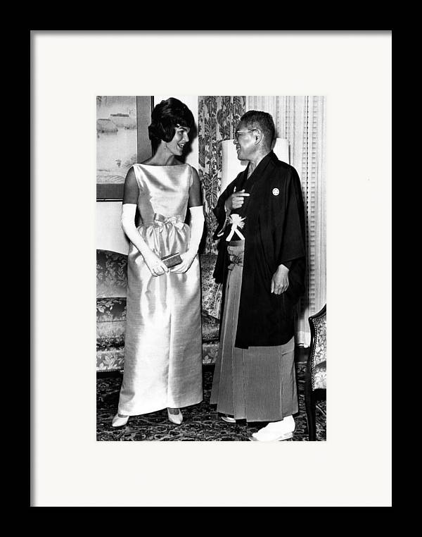 1960s Framed Print featuring the photograph Jacqueline Kennedy, And Japanese Prime by Everett