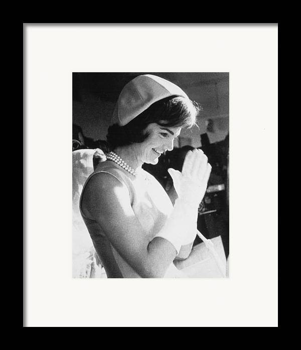 1960s Fashion Framed Print featuring the photograph Jacqueline Kennedy Visiting A Childrens by Everett