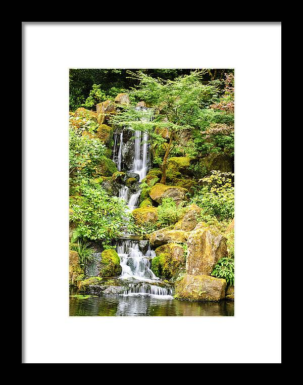 Waterfall Framed Print featuring the photograph Japanese Garden Waterfall by Diego Re
