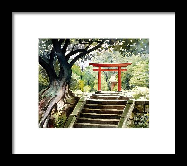 Landscape Framed Print featuring the painting Japanese Tori by Phil Hopkins