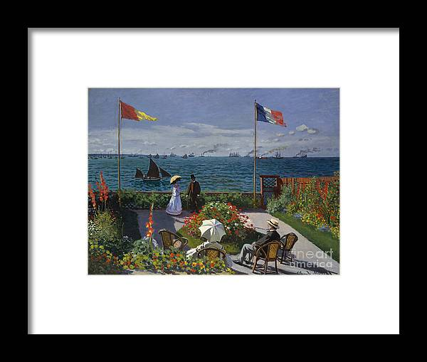 Claude Monet Framed Print featuring the painting Jardin A Sainte Adresse by Extrospection Art