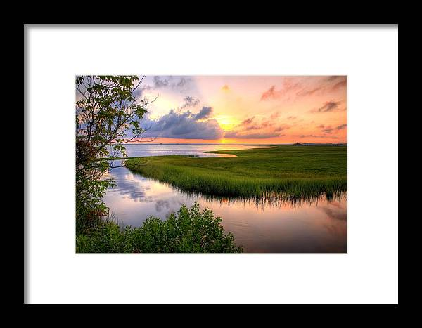 Sunset Framed Print featuring the photograph Jeffers Landing by John Loreaux