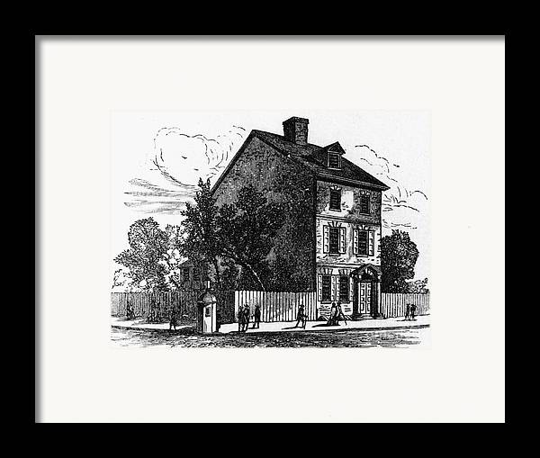 1776 Framed Print featuring the photograph Jeffersons House, 1776 by Granger